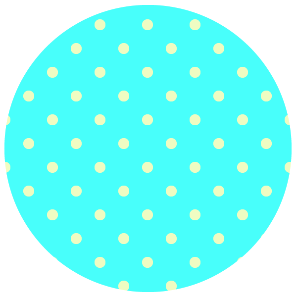 round of vivid neon light blue polka dots