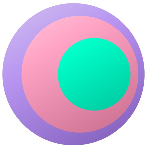 Pastel colored eye-shaped circle (green center)