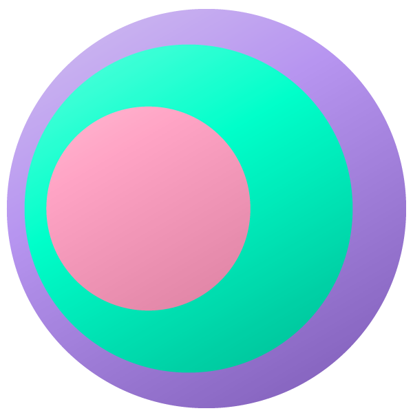 Pastel-colored eye-shaped circle (pink at center)
