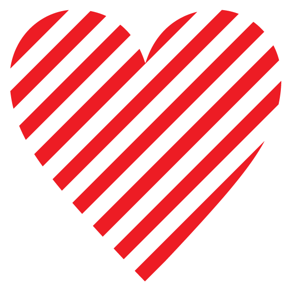 Striped heart (red)