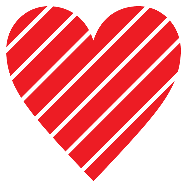 Striped heart with narrow gap(red)