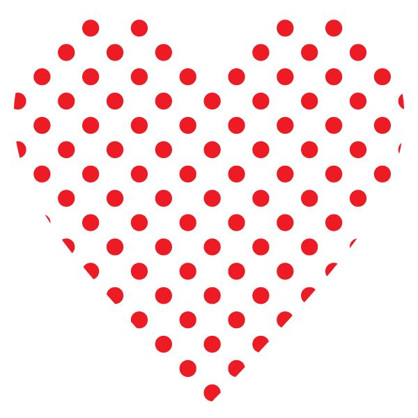 Heart with small polka dots (red)