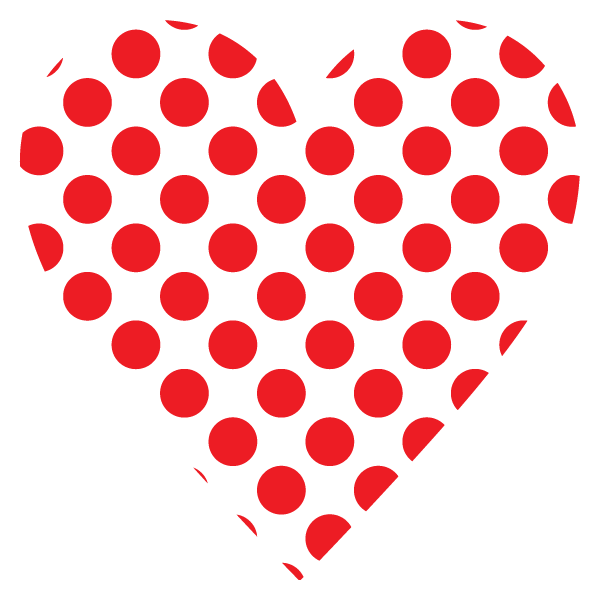 Large polka dot heart (red)