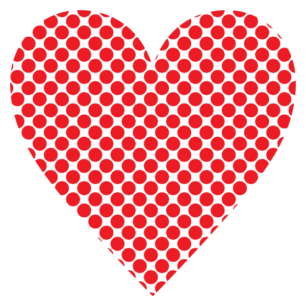 Polka dot heart with a narrow gap (red)