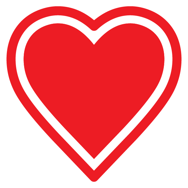 Heart with outline (red)