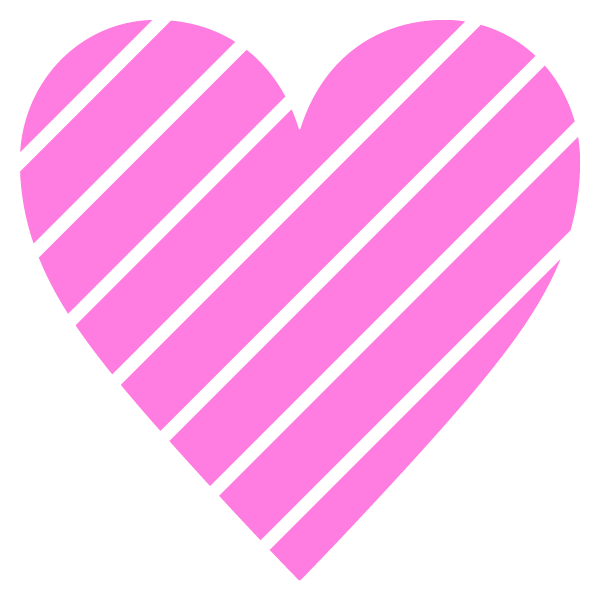 Striped heart with narrow gap(pink)