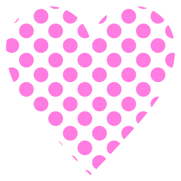 Large polka dot heart (pink)