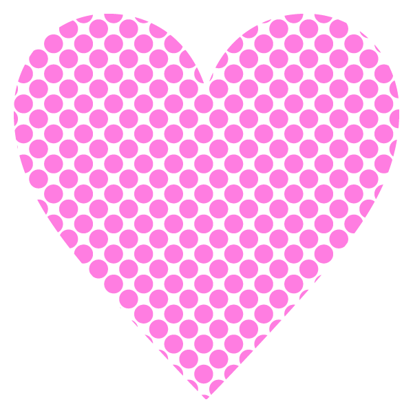 Polka dot heart with a narrow gap (pink)