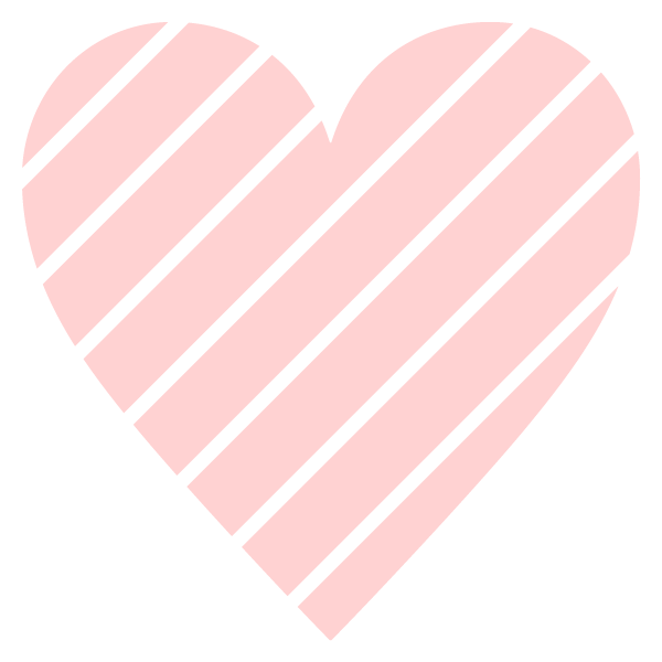 Striped heart with narrow gap(Pale pink)