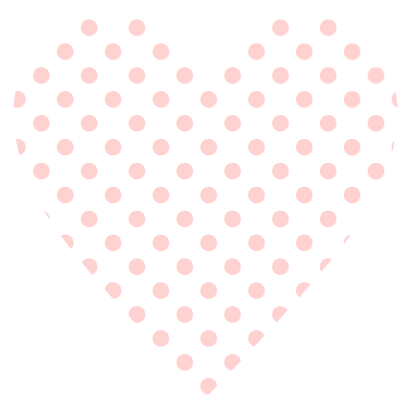 Heart with small polka dots (Pale pink)