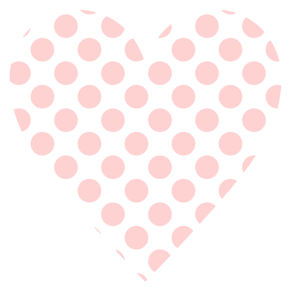Large polka dot heart (Pale pink)