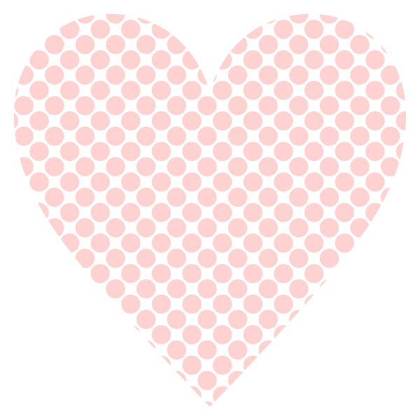 Polka dot heart with a narrow gap (Pale pink)