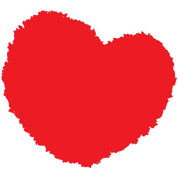 丸みのある手書きのハート(赤) Round handwritten heart (red)