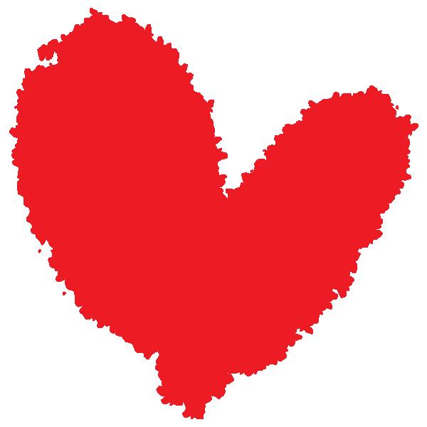 勢いのある手書きのハート(赤) Handwritten heart with momentum (red)