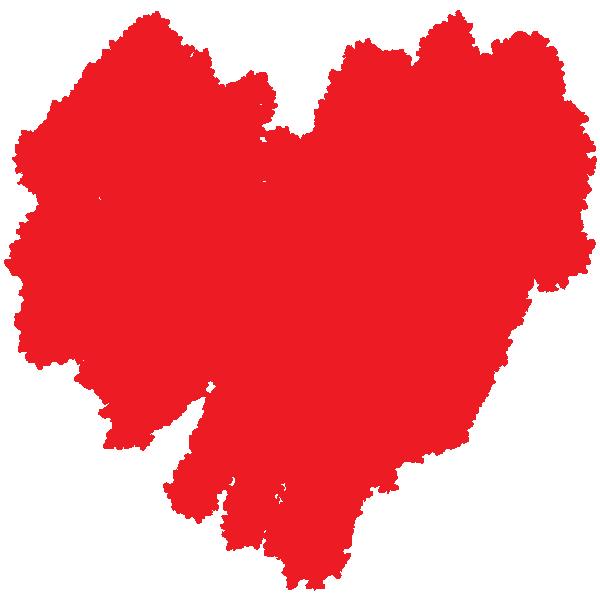 ラフな手書きのハート(赤) Rough handwritten heart (red)