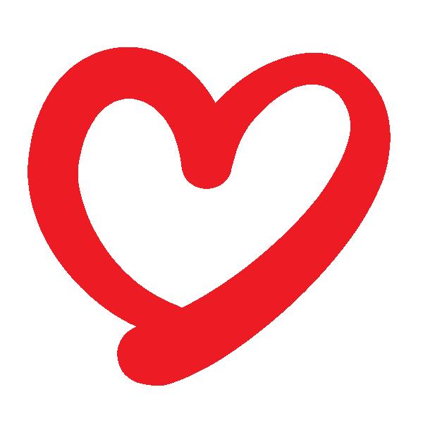 くっきりした線の手書きのハート(赤) Handwritten heart with a clear line (red)