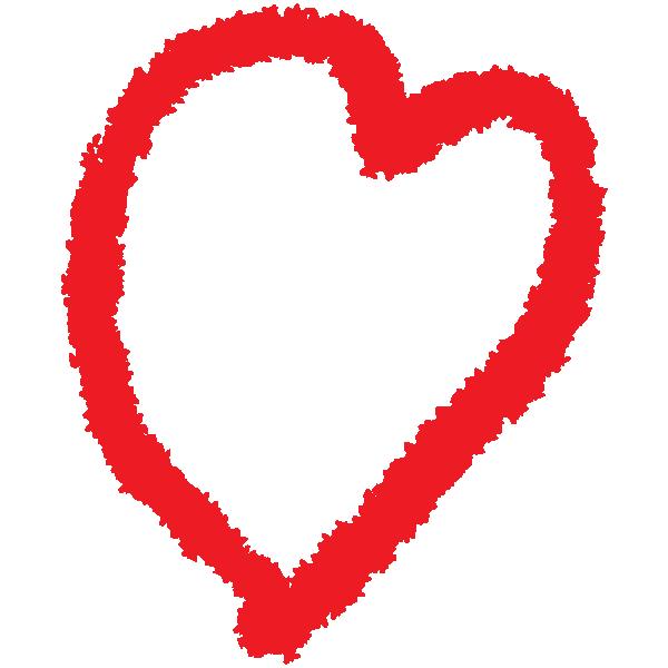 ゆるいラフな線の手書きのハート(赤) Loose rough line handwritten heart (red)