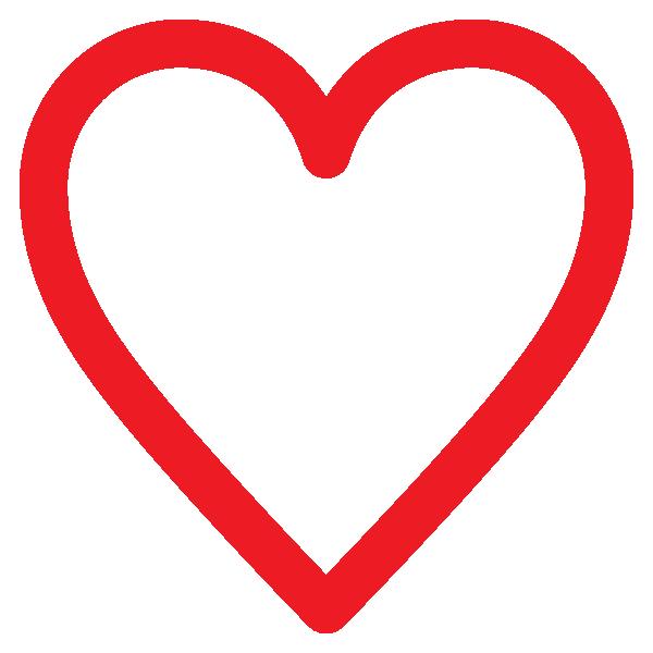 シンプルなラインのハート(赤) Simple line heart (red)