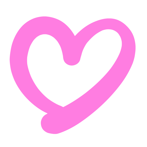 Handwritten heart with a clear line (pink)