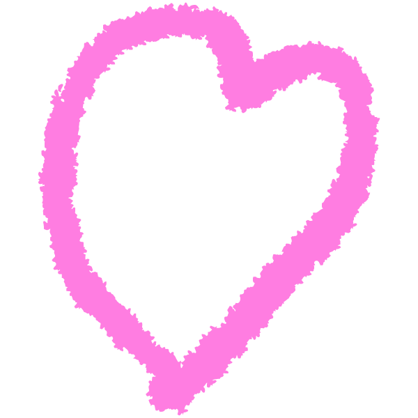 Loose rough line handwritten heart (pink)