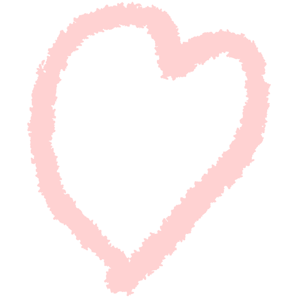 Loose rough line handwritten heart (Pale pink)