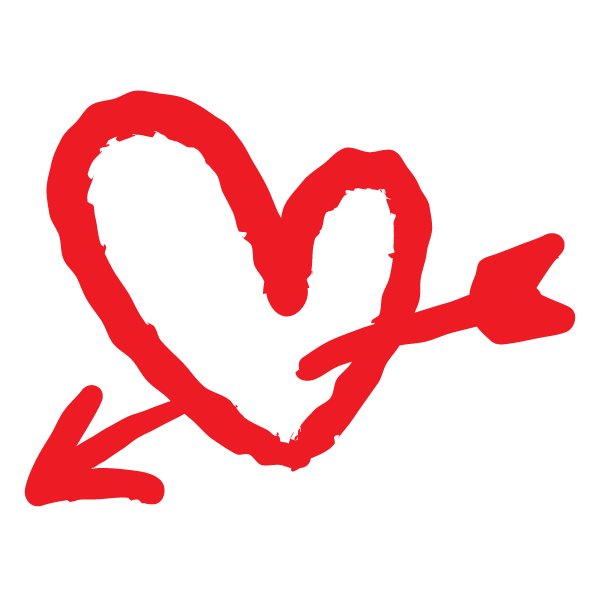 落書き風のハートに矢(赤) Doodle style heart with arrow (red)