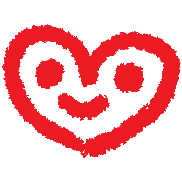 落書き風のハート顔(赤) Graffiti-style heart face (red)