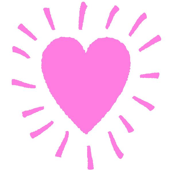 落書きアート風のハート(ピンク) Graffiti art style shining heart (pink)