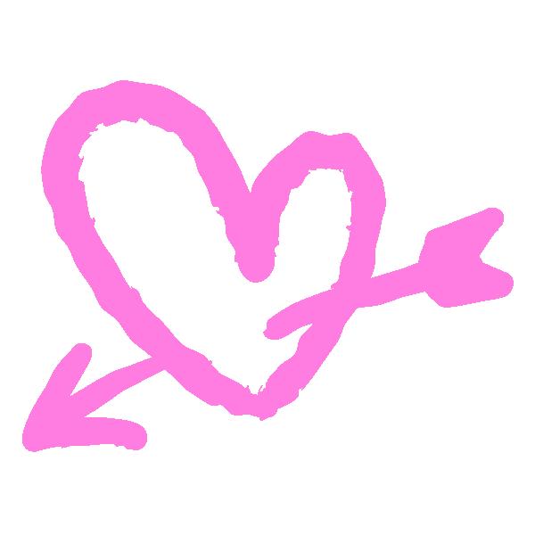 落書き風のハートに矢(ピンク) Doodle style heart with arrow (pink)