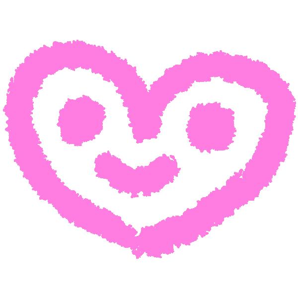落書き風のハート顔(ピンク) Graffiti-style heart face (pink)
