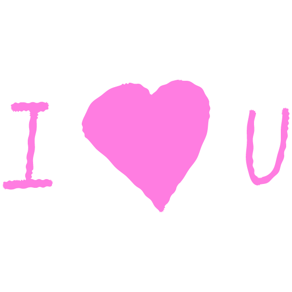手書き風の I Love U(ピンク) Handwritten I Love U (pink)