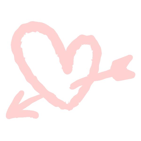 落書き風のハートに矢(淡いピンク) Doodle style heart with arrow (Pale pink)