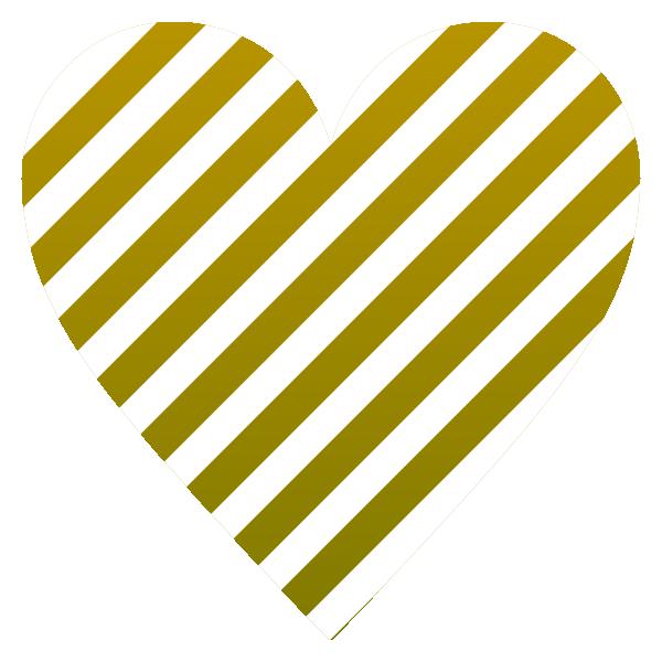 ゴールドと白のストライプ柄のハート Gold and white striped heart