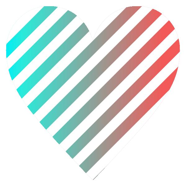 スタイリッシュなグラデーションと白のストライプ柄のハート Stylish gradient and white striped heart