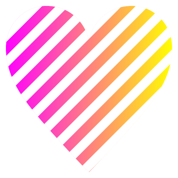 「ピンクとイエローのグラデーション」と白のストライプ柄のハート hot pink and yellow gradient white striped heart