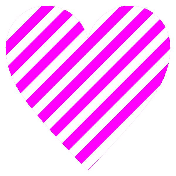 ピンクと白のストライプ柄のハート Hot pink and white striped heart