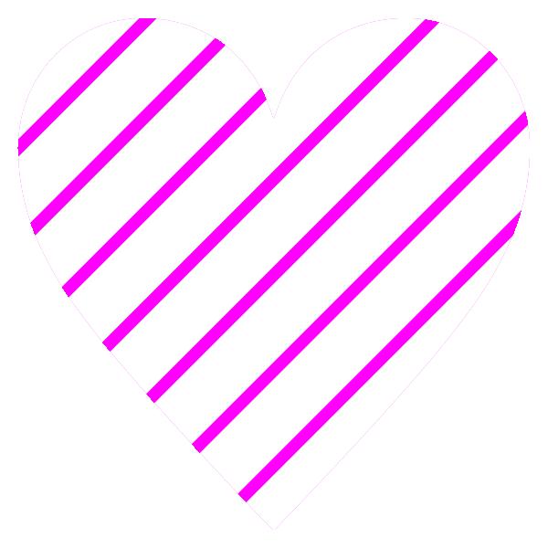 ピンクと白の細いストライプ柄のハート Pink and white thin stripe patterned heart