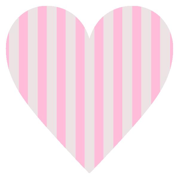 淡いピンクとグレーのストライプ柄のハート Light pink and gray striped heart