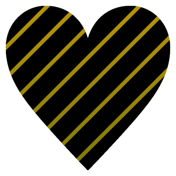 ゴールドと黒のストライプのハート Gold and black striped heart