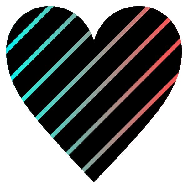 スタイリッシュなグラデーションカラーと黒のストライプのハート Stylish gradient color and black striped heart