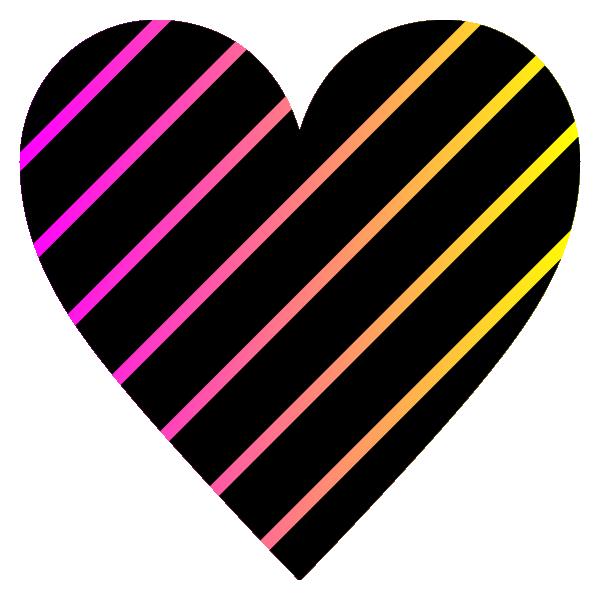 「ピンクとイエローのグラデーション」と黒のストライプのハート pink and yellow gradient black striped heart