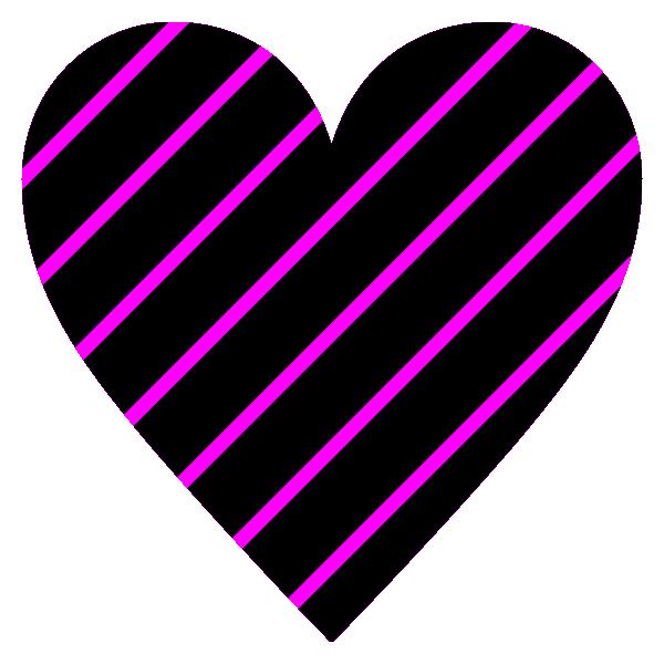 ピンクと黒のストライプのハート Hot pink and black striped heart