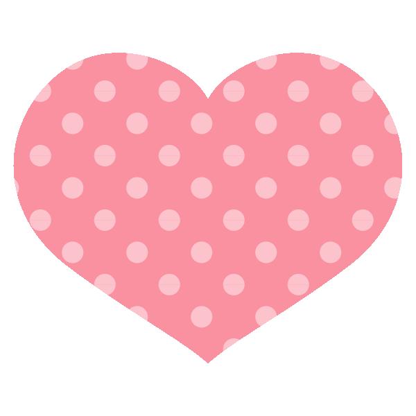 淡いピンクのドット柄の横長ハート Round heart with pale pink polka dots