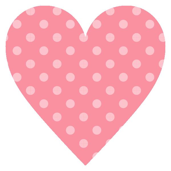 淡いピンクのドット柄のハート Pale pink dot pattern heart