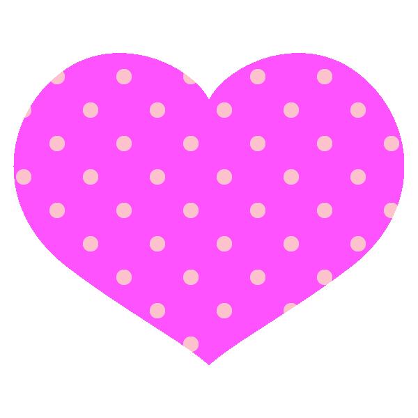 ビビッドなピンクのドット柄の横長ハート Round heart with hot pink dot pattern