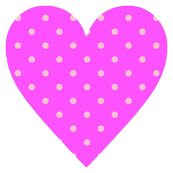 ビビッドなピンクのドット柄のハート hot pink dot pattern heart