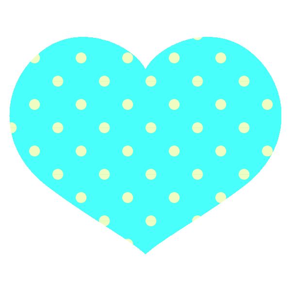 ビビッドなブルー(水色)のドット柄の横長ハート Round heart with vivid light blue polka dots
