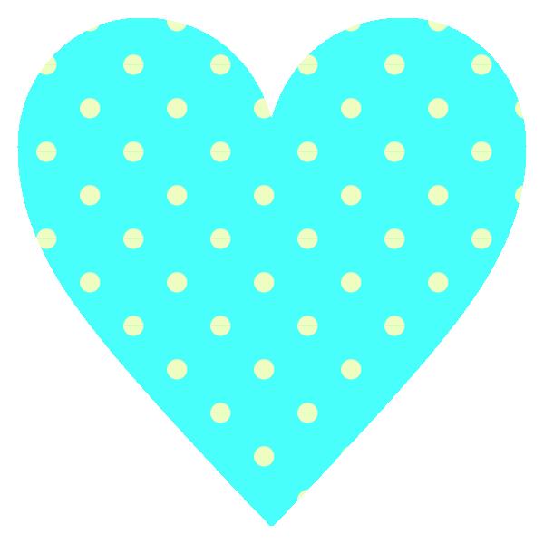ビビッドなブルー(水色)のドット柄のハート Vivid light blue dot pattern heart