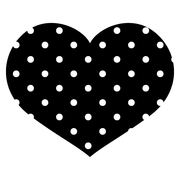 黒地に白のドット柄の横長ハート Round heart with white polka dots on black background
