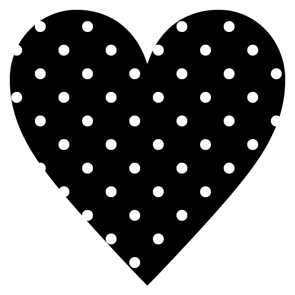 黒地に白のドット柄のハート White polka dot heart on black background